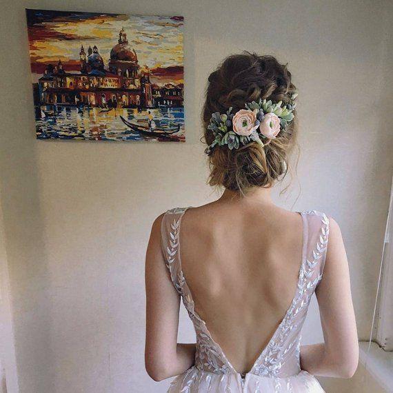 Saftiges Stück hochzeitsstirnband Blumen und Blätter Beige Blume Krone Braut Haarstück böhmischen Hochzeit Blume Krone Ranunkulus #bridalhairflowers