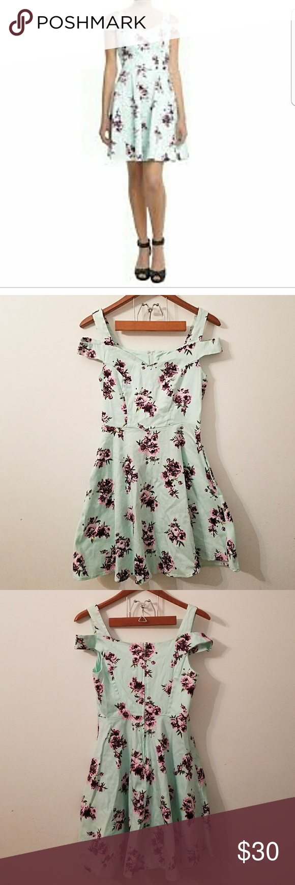 6a00bce0ae38 Mint floral off the shoulder fit and flare dress Mint floral off the shoulder  dress. It is a fit and flare style dress from hot topic. It has a purple  pink ...