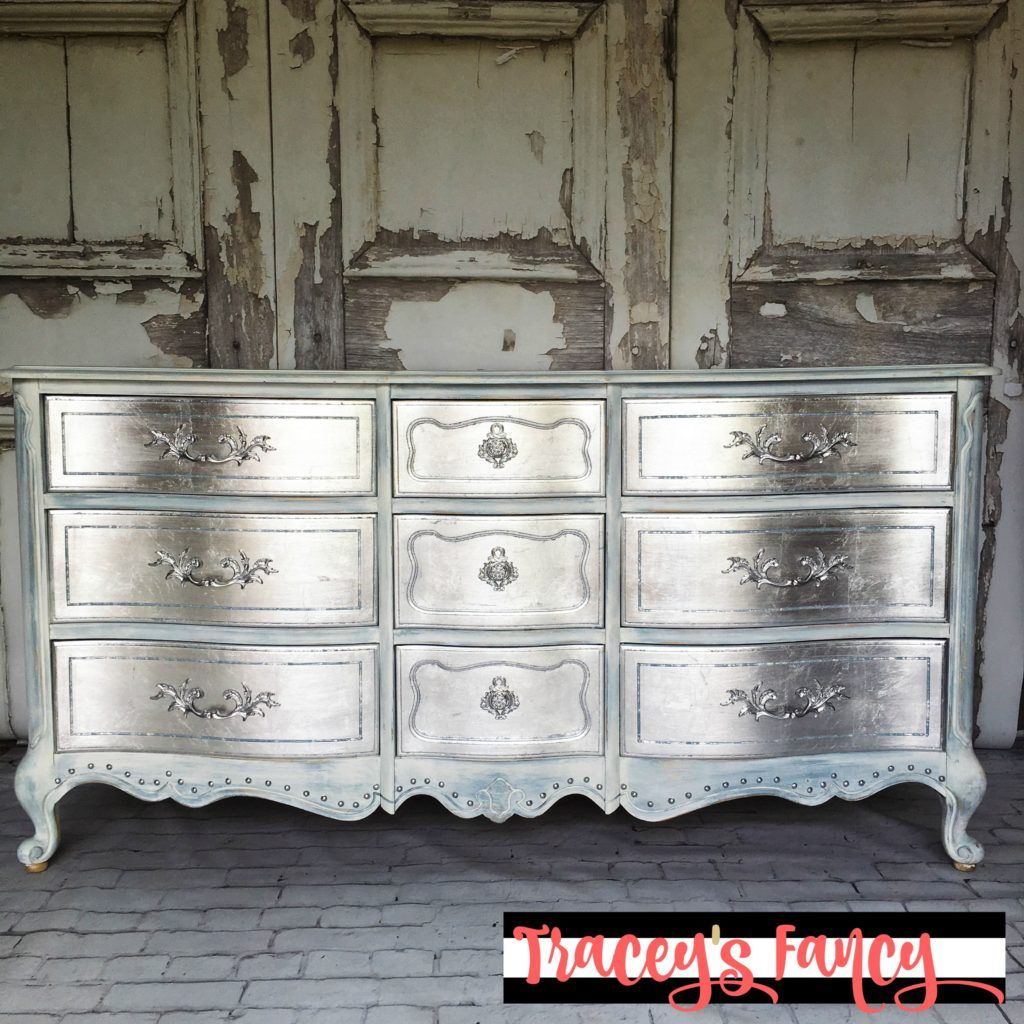 Metallic silver furniture how to diy this metallic finish and add silver leafings for a little hollywood glam in your home traceys fancy fancied up and