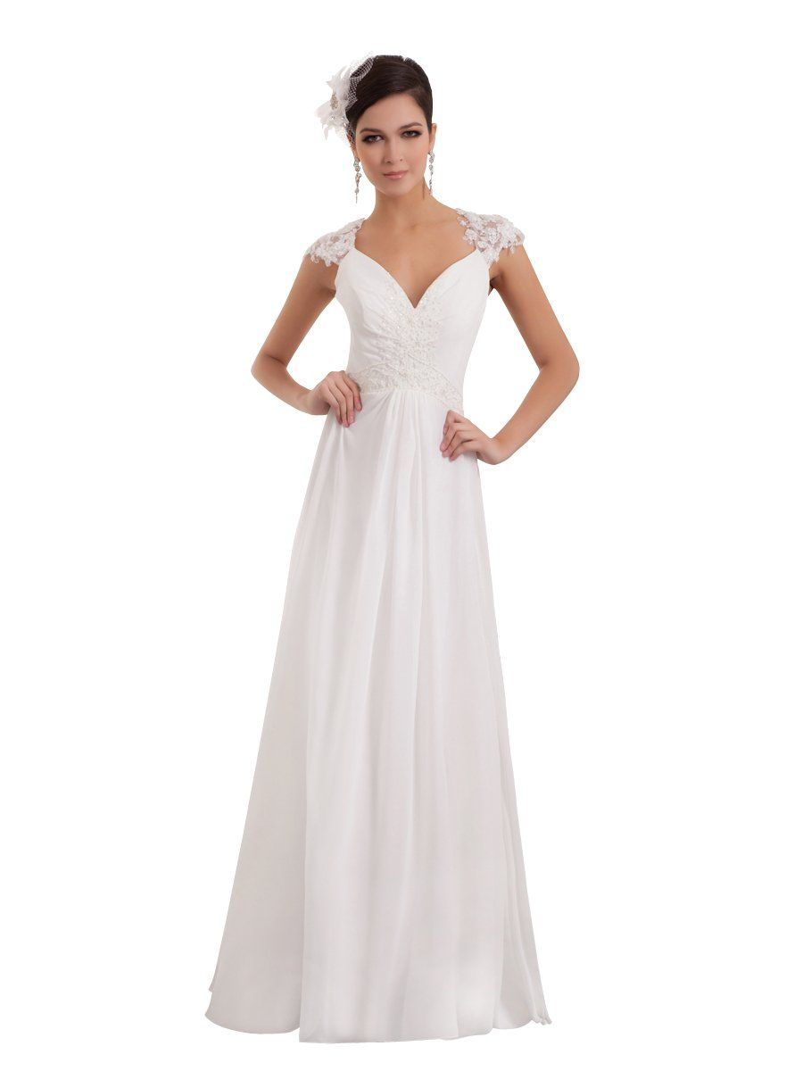 Topwedding Chiffon A Line Bridal Gown Beach Wedding Dress W Lace Back Ivory S14