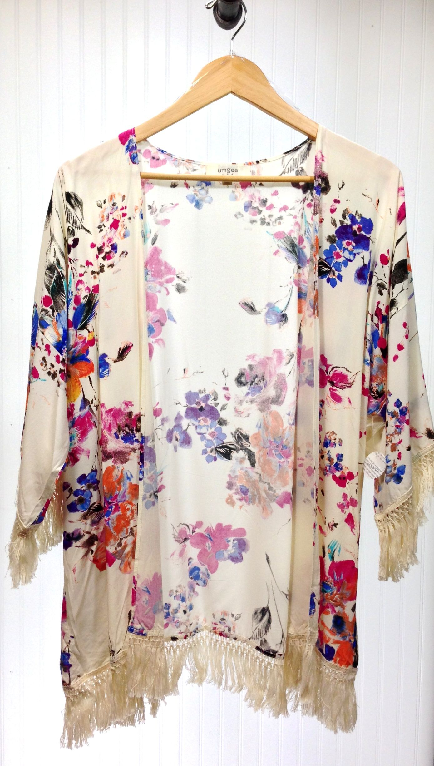 Lulu Kimono Cardigan in White Floral with Fringe | Fashion ...