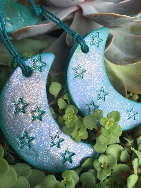 Crescent Moon Ornament Star Ornament Glitter By Thisthatandthese Star Ornament Clay Ornaments Polymer Clay Christmas
