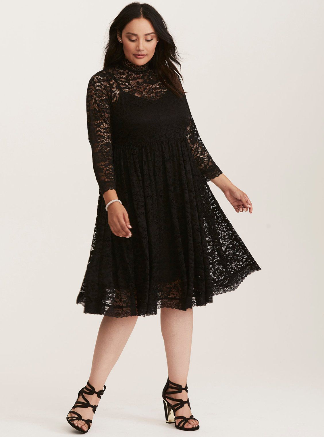 Black Lace High Neck Midi Dress  Torrid  Plus Size  Holiday