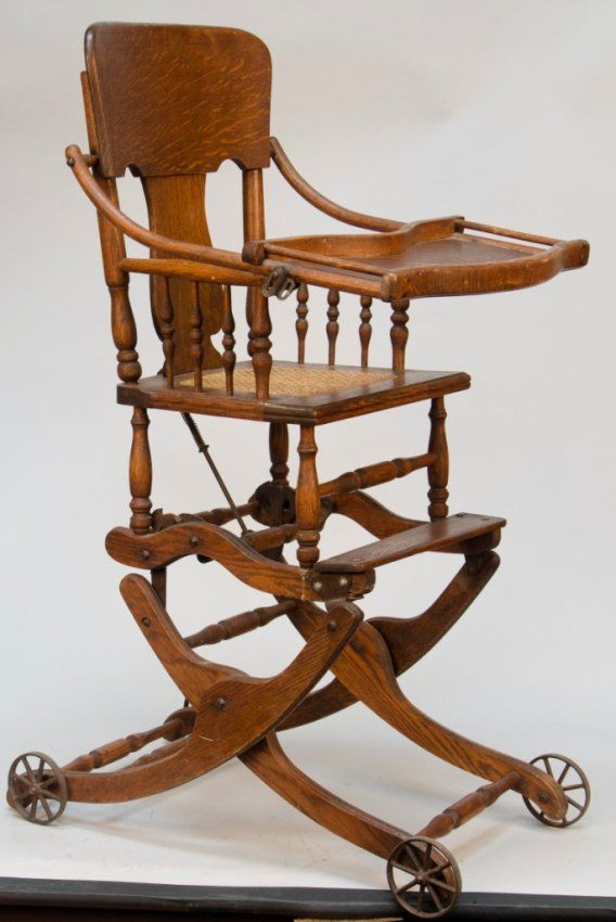 227: Antique Oak Convertible Baby's Highchair/Rocker : Lot 227 - 227: Antique Oak Convertible Baby's Highchair/Rocker : Lot 227