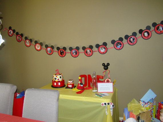 Mickey Mouse 1st Birthday Month by Month Photo Banner Decoration