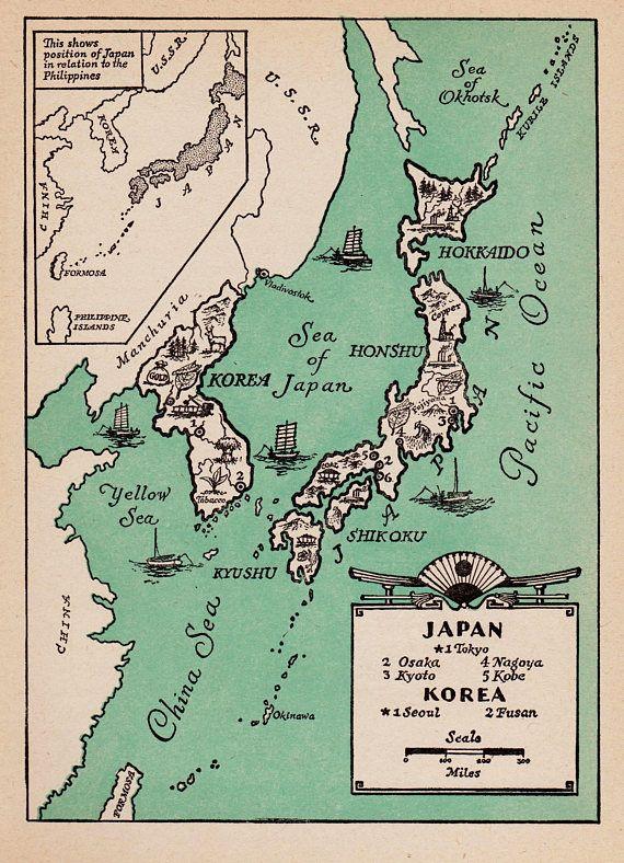 Pictorial Vintage JAPAN Map of Japan Print Korea Map 1940s ...