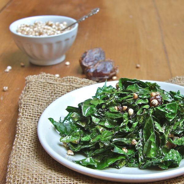 Kale Miso Saute with our Puffed Millet cereal - what a great idea!