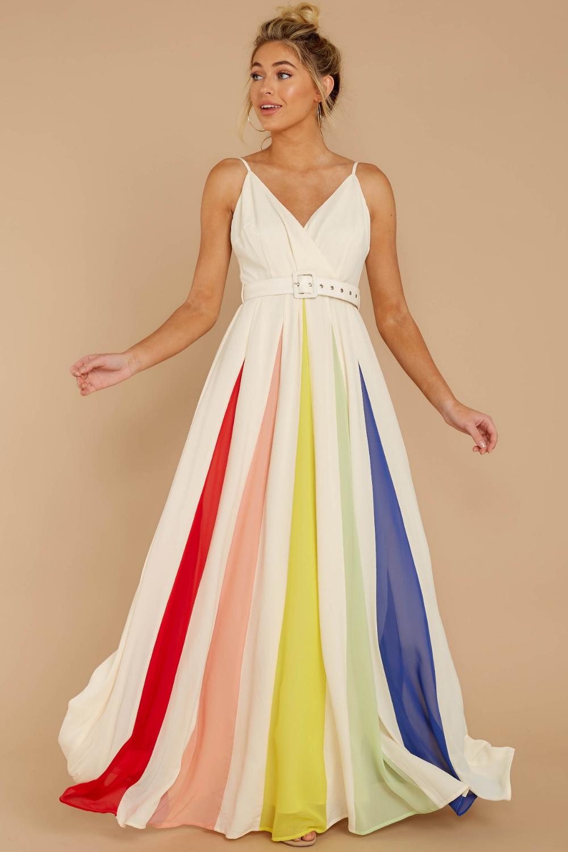 Stunning White Rainbow Stripe Maxi Flowy Formal Gown Dress 58 Red Dress Rainbow Prom Dress Rainbow Dress Rainbow Wedding Dress [ 1500 x 1000 Pixel ]
