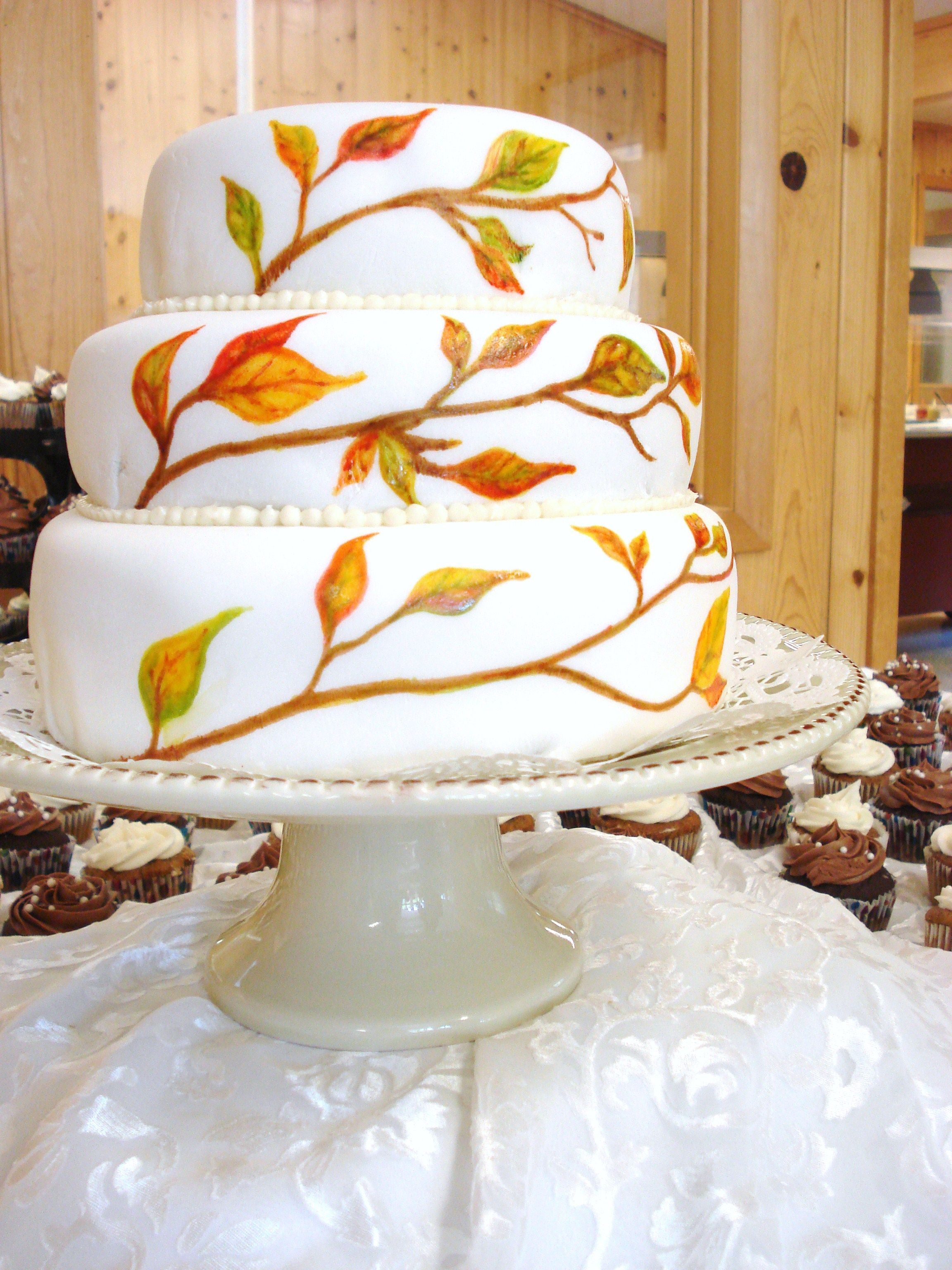 fall wedding cake with hand painted leaves- my sis made this ...
