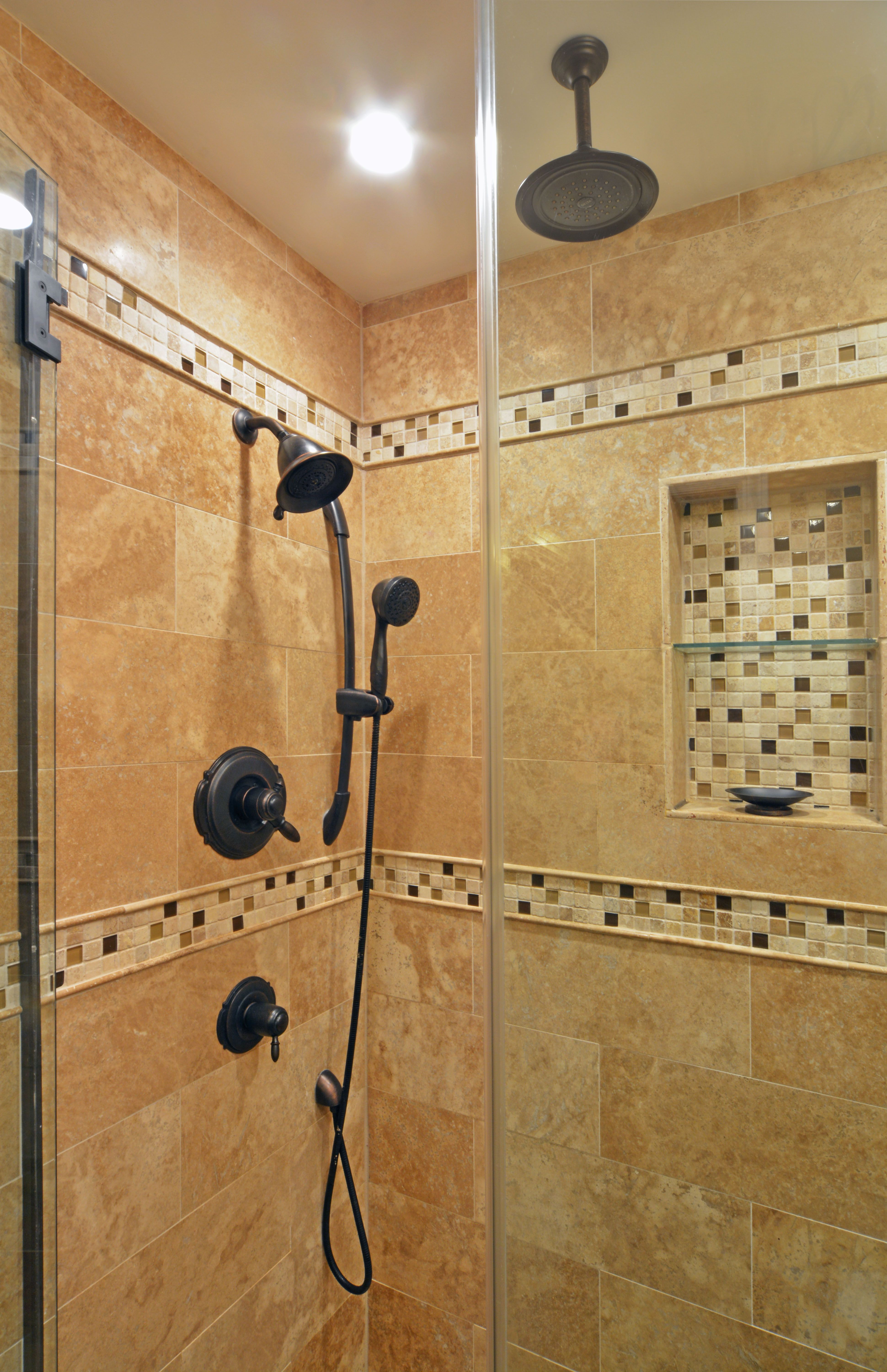 Travertine Tile Shower Stall With Set In Shampoo Box