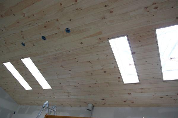 Pine Plank Ceiling Around Skylights