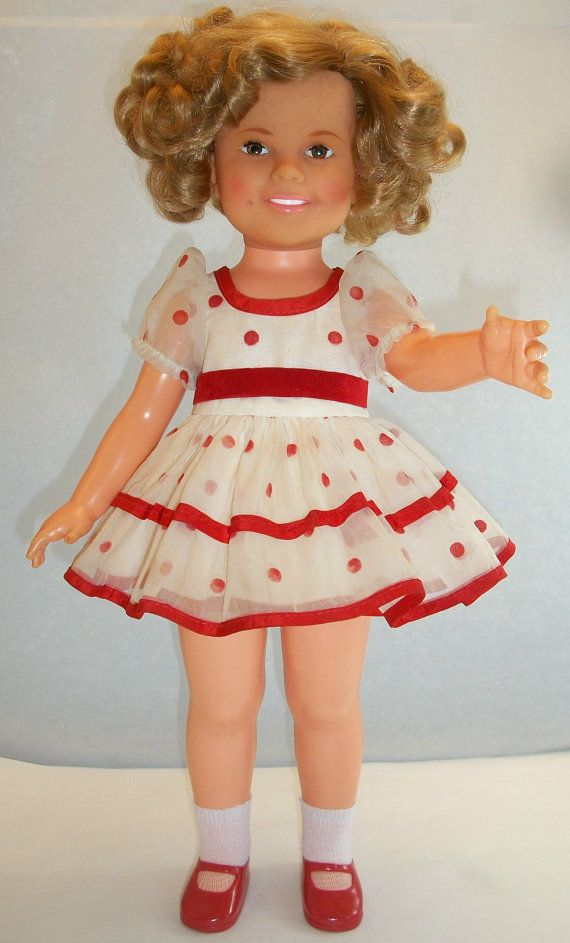 Vintage 1973 Ideal Shirley Temple Doll Original Stand Up And Cheer Dress And Shoes 16 Tall Curly Blonde Hair Brown Eyes Shirley Temple Dolls Cheer Dress