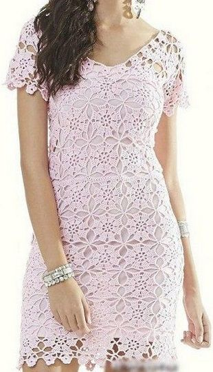 платье из круглых мотивов связано крючком схема вязания платья