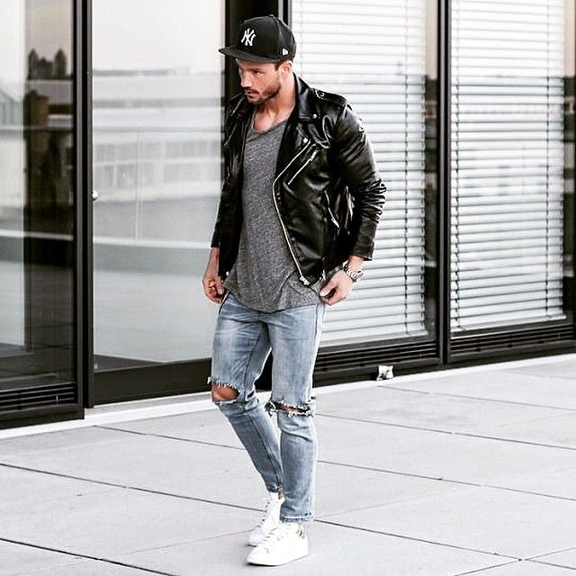 H O T Beaumondesa Style Men Fashion White Shoes Torn Jeans Black Leather Jacket Grey