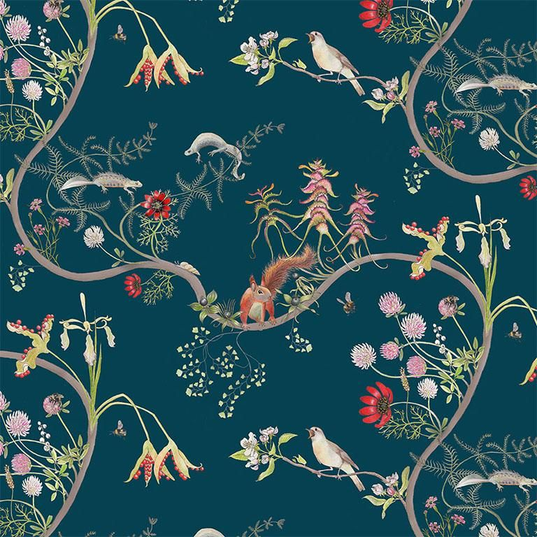 Mercia Vines In Deep Blue Botanical Birds And Bees Wallpaper For Sale At 1stdibs This Is An Eco Friendly Fine Gicl Botanical Wallpaper Bird Wallpaper Wallpaper