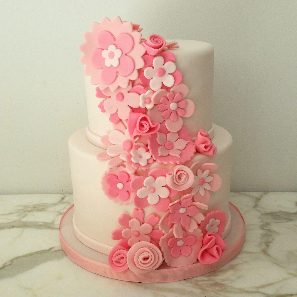 Pink Flower Cake Fondant Flowers Baby Shower Baptism Pattycakes