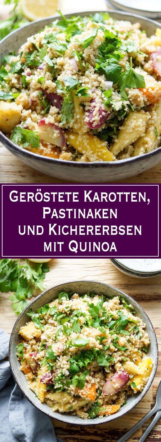 Leichte küche einfache rezepte  Geröstete Karotten, Pastinaken und Kichererbsen mit Quinoa | Salat ...