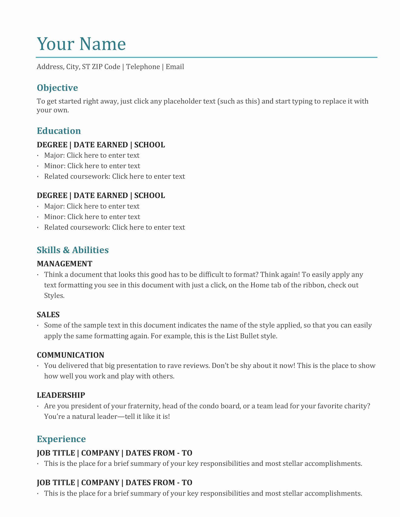 Academic Resume Template Word