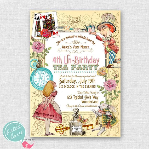 Alice In Wonderland Printable Birthday Invitation Vintage Shabby