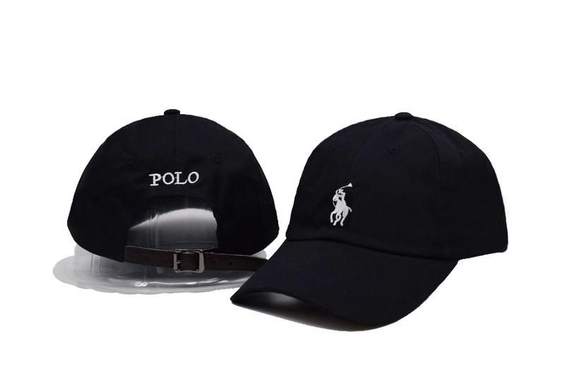 Men s   Women s Polo Ralph Lauren Small Pony Embroidery Logo Baseball  Adjustable Leather Strap Back Hat - Black   White f79dd0ed849