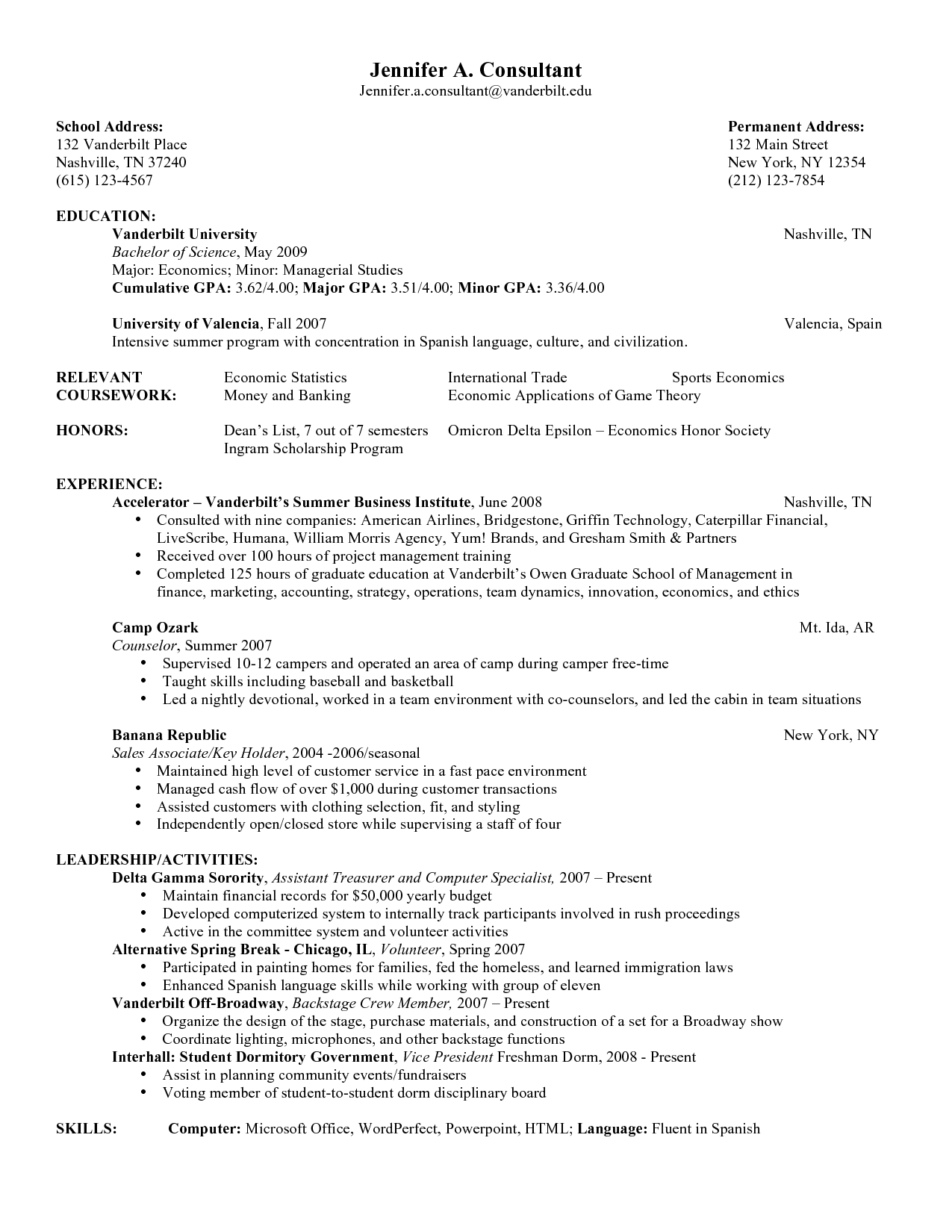 Sorority Resume Samples | Sample Consulting Resume