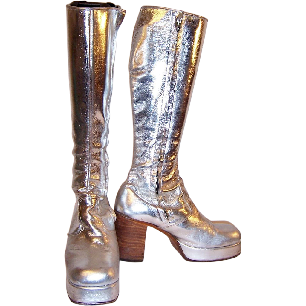 Men's Original 1970's Glam-Rock Band Silver Platform Boots
