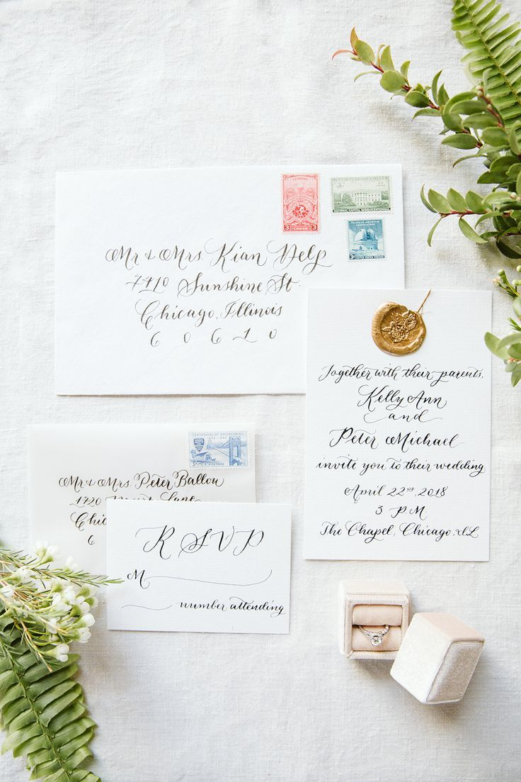 Delicate wedding calligraphy with vintage stamps and a