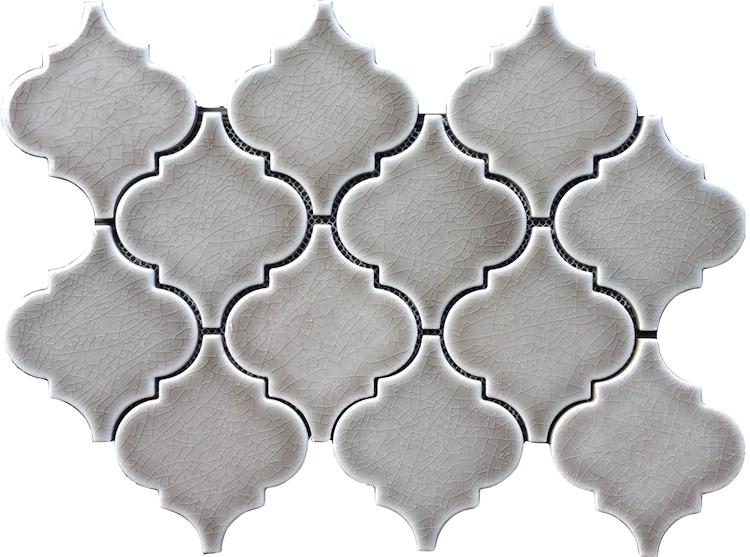 Best Dove Gray Arabesque Glazed Porcelain Mosaic Tile The 640 x 480