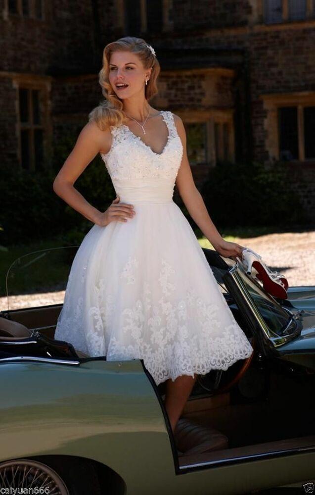 Details about New V-neck Lace Tea Length Wedding Dress White/Ivory Short Bride Dress Size 6-18