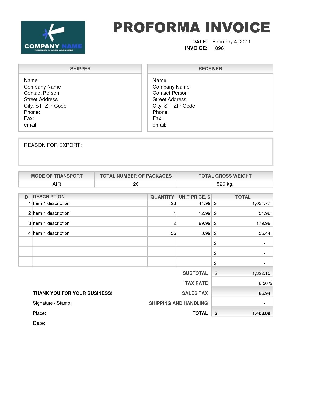 Samples Of Proforma Invoice Invoice Template Free  Meaning
