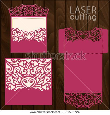 Die Laser Cut Wedding Card Vector Template Invitation Envelope