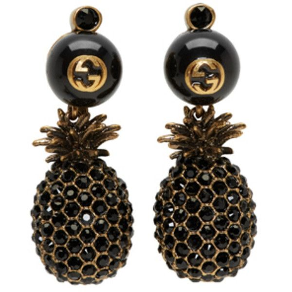 6dc7067395c Gucci Gold and Black Pineapple Pearl Earrings ( 635) ❤ liked on Polyvore  featuring jewelry