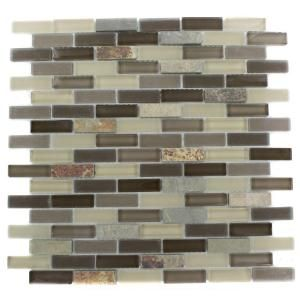 fireplace Tectonic Brick Multicolor Slate And Khaki Blend 12 in. x 12 in. Glass Mosaic Floor and Wall Tile-GEO BRICK SLATE KHAKI at The Home Depot