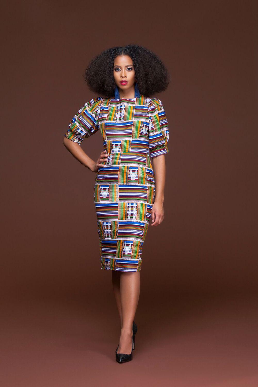 African Print Senegal Midi Dress: African Print Kente Lesotho Midi Dress