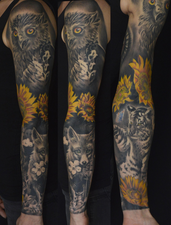 Full Sleeve Nature Fox Sunflower Owl Tiger Puppy Popular Amazing Ink Tattoo Artist Professio Nature Tattoo Sleeve Sleeve Tattoos Owl Tattoo Sleeve