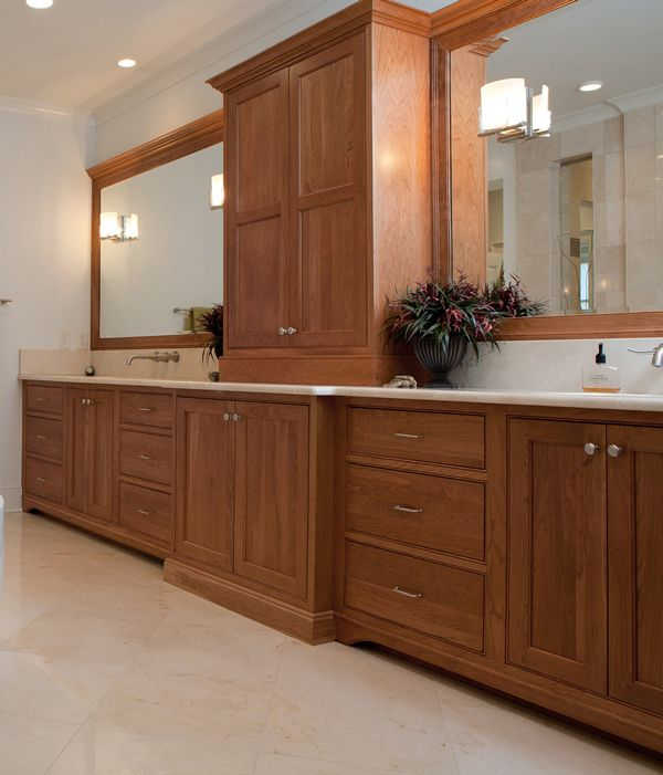 Can I Use Kitchen Cabinets In The Bathroom: Cabinets: Medium Cherry, Beaded Inset Overlay Using Square