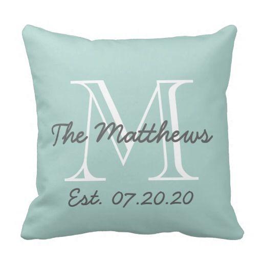 Mint Green Gray White Family Monogram Throw Pillow