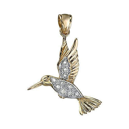 14K Yellow Gold Hummingbird Diamond Pendant -- Learn more by visiting the image link.Note:It is affiliate link to Amazon.