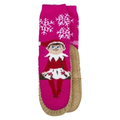 Girl's Elf on the Shelf Moccasin Slippers - Pink