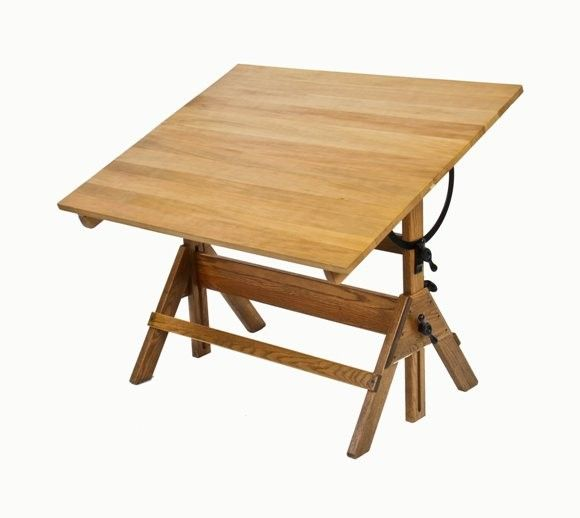 Solid Wood Drafting Table Schools Industrial Cast Iron Wood Adjustable