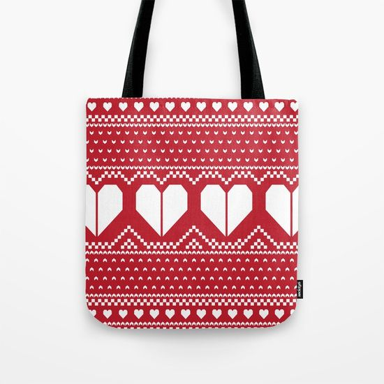 Heart Fair Isle (Red) Tote Bag | My Style - Fall/Winter ...