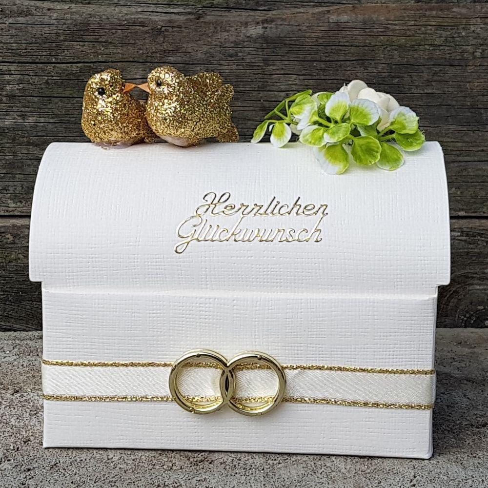 Details Zu Geldgeschenk Goldene Hochzeit Truhe Herz Eheringe Tauben