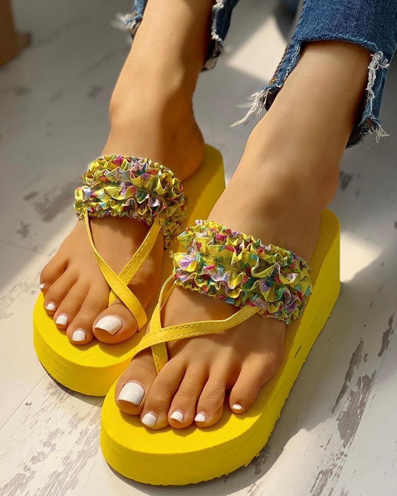 New Girls Cross Band Casual Slingback Platform Flat Sandals Clearance- Volar-K