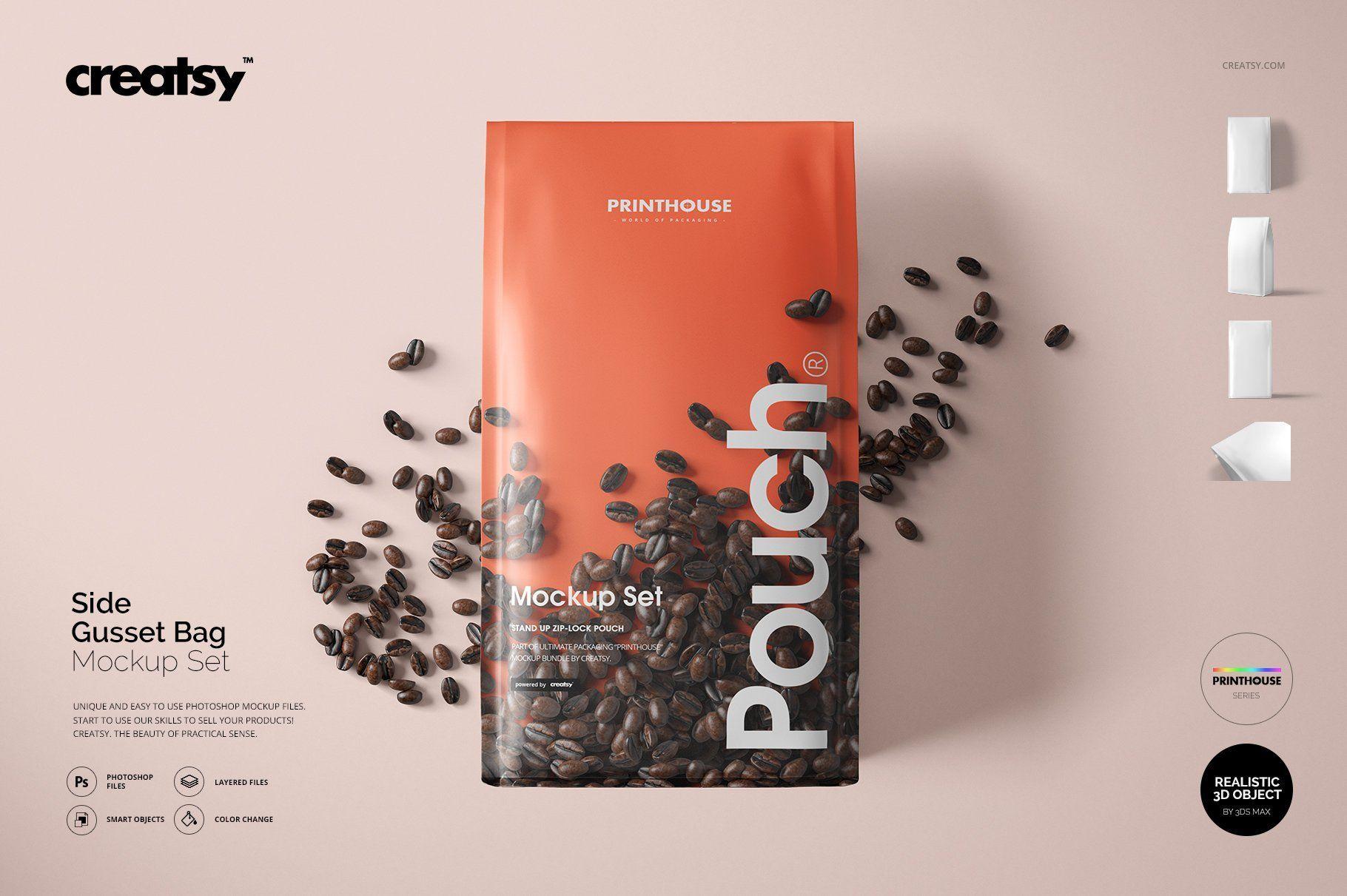 Side Gusset Bag Mockup Set Bag Mockup Tea Packaging Design Mockup
