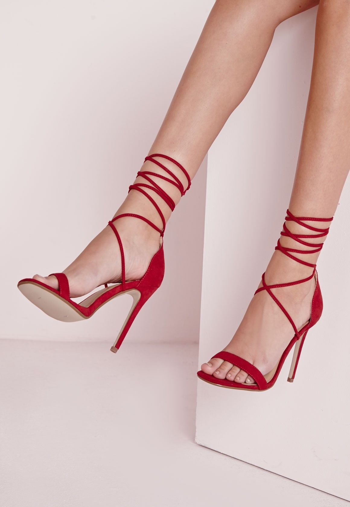 e8f90fc73fe9 Lace Up Barely There Heeled Sandals Red - Shoes - High Heels - Missguided   weddingshoes