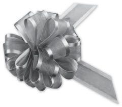 """Silver Sheer Satin Edge Pull Bows, 18 Loops, 5/8 Width, 4"""" Bow  • 12 gift wrap bows per pack  • These bows are made of Sheer organza with satin edge  • Available in 1 other size option  • Each bow is individually packaged with basic instructions  • A sample is available for this product. Please contact customer service if you would like to order a sample"""