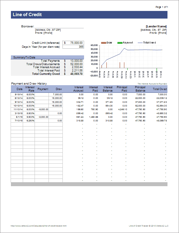 track a general line of credit with this spreadsheet from
