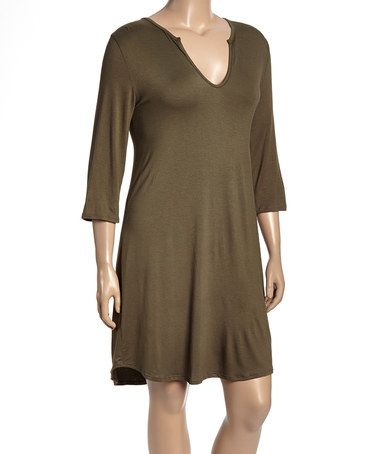 Look what I found on #zulily! Olive Notch Neck Shift Dress - Women & Plus #zulilyfinds