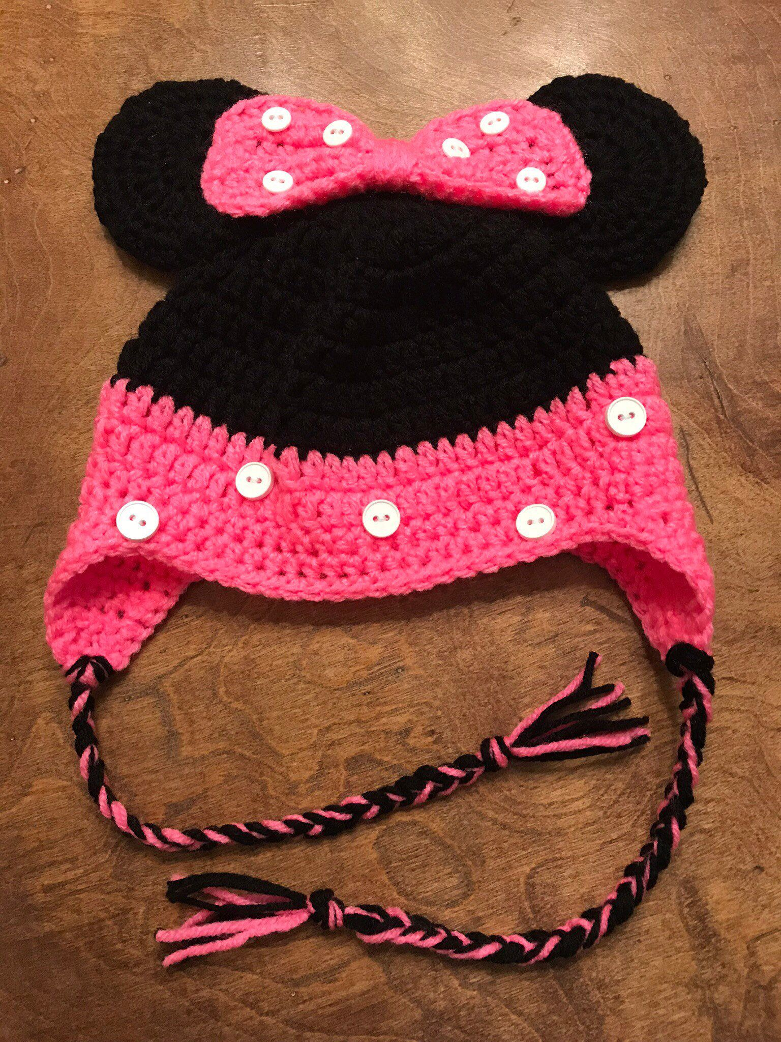 7acc684fd44 Excited to share this item from my  etsy shop  Hot Pink Hand Crocheted  Minnie Mouse Baby Girl Hat  accessories  hat  minniemouse