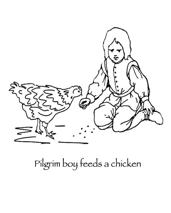 Thanksgiving Coloring Pages Pilgrim Boy Feeding Chickens People